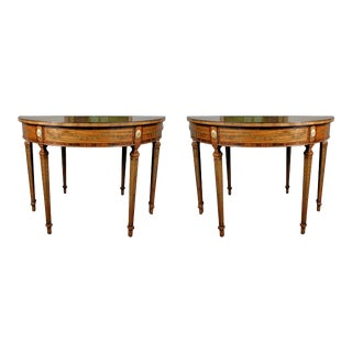 Pair Georgian Style Mahogany and Kingwood Veneered Demilune Tables - A Pair For Sale