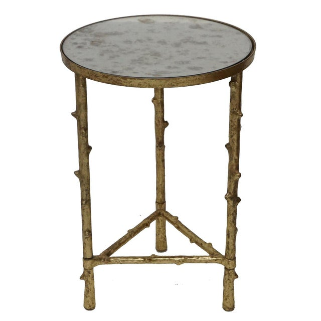 Contemporary Contemporary Glostrup Coffee & Side Table Combo Set, Mirrored Top, Accent Home Furniture, Living Room, Gold Leafing Finish For Sale - Image 3 of 8