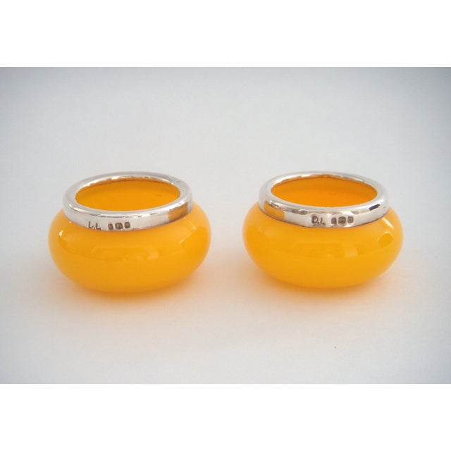 1925 Antique English Hall Marked Salt Cellars, Yellow Glass & Sterling Silver For Sale - Image 4 of 4