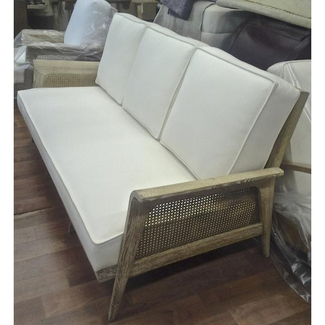 White Rarest Etienne-Henri Martin Cane and Cerused Oak Couch Fully Restored For Sale - Image 8 of 8