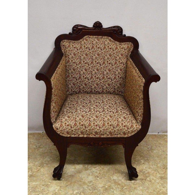 Textile Antique Mahogany 3pc Parlor Set : Settee , Arm Chair , Chair For Sale - Image 7 of 11