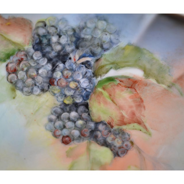 Cottage Handpainted Blackberry Plate For Sale - Image 3 of 5