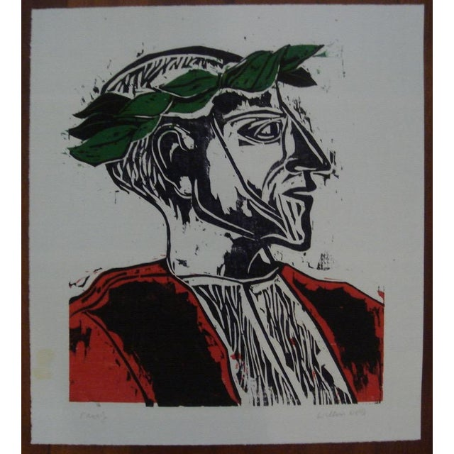 """1962 """"Laureate"""" Color Woodblock Print by William Wolff - Image 2 of 4"""