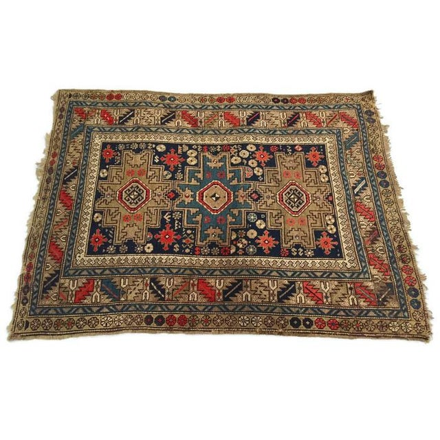 Antique Persian Rug Hand Knotted Caucasian Wool Rug - 3′6″ × 4′9″ For Sale - Image 4 of 8