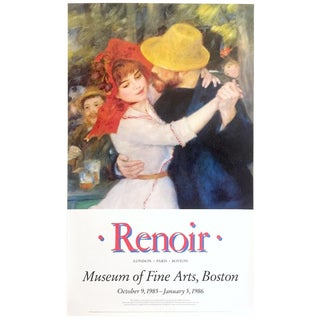 "Auguste Renoir Rare Vintage 1985 Lithograph Print Museum Exhibition Poster "" Lebal a Bougival "" 1883 For Sale"
