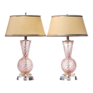 Vintage Murano Glass Lamps on Lucite Bases For Sale