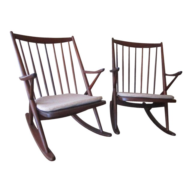 Frank Reenskaug for Bramin Mobler Rosewood Danish Rocking Chairs For Sale