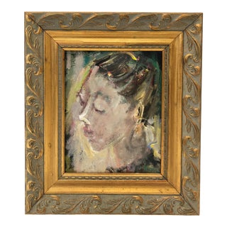 """""""Mitzy"""" Vintage Portrait Painting of a Girl With Her Hair Pulled Back For Sale"""