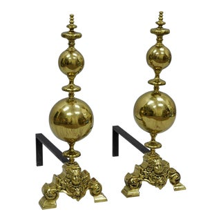 Brass Cannonball Andirons - A Pair For Sale