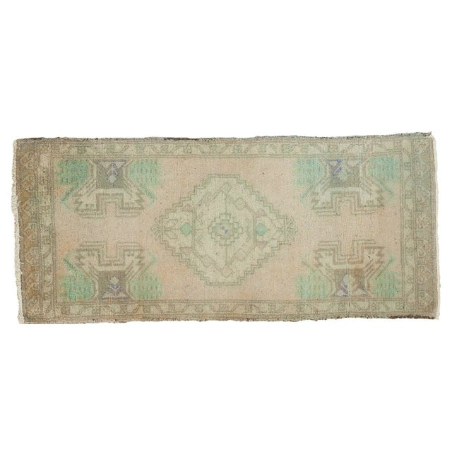Vintage Distressed Oushak Runner -1′7″ × 3′7″ For Sale