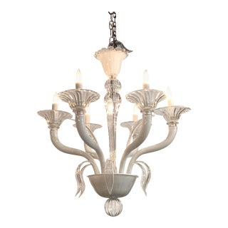 Midcentury White and Clear Glass Murano Chandelier For Sale