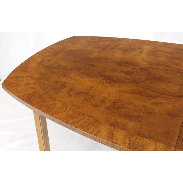Oval Boat Shape Banded Burl Wood Dining Table With 2 Leaves Extensions For Sale - Image 11 of 12