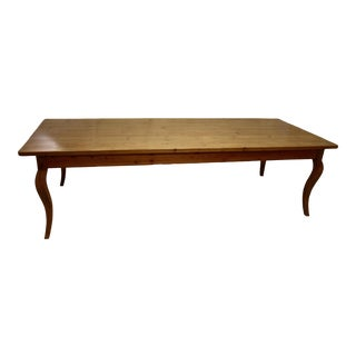 Vintage Pine Cabriole Leg Farmhouse Dining Table For Sale