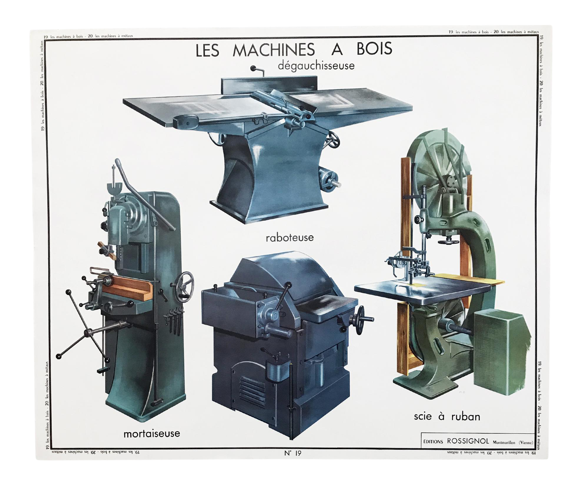 Vintage French Educational Double Sided Woodworking Machines
