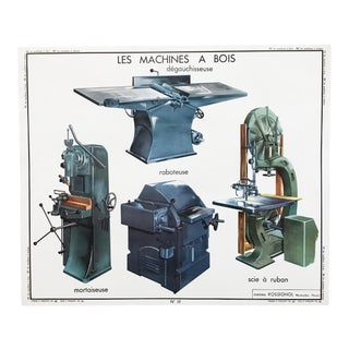 """Vintage French Educational Double-Sided """"Woodworking Machines / Metal Machinery"""" School Poster Chart For Sale"""