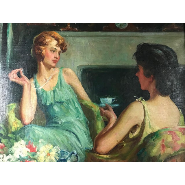 Large 1920s portrait painting by John Holiver. Displayed in the 1927 Ohio State Fair Exhibit of Fine Arts. The oil...