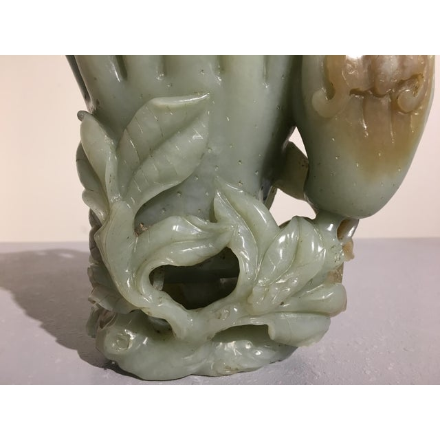 Large Chinese Carved Celadon Jade Double Buddha Hand Vase For Sale - Image 9 of 11