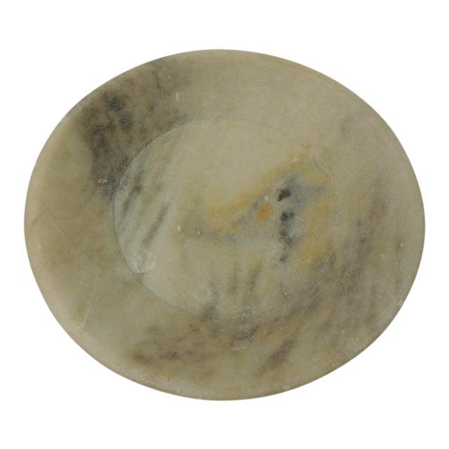 Vintage Asian Hand Carved Alabaster Round Decorative Serving Bowl For Sale