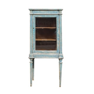 Oriental Shabby Chic Blue Tall Glass Cabinet