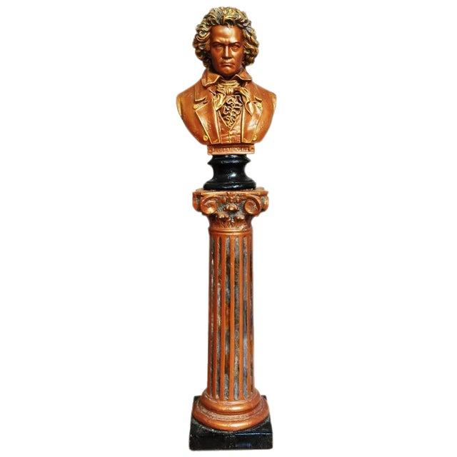 Antique Ceramic Bust Sculpture of Beethoven on a Ceramic Pedestal For Sale