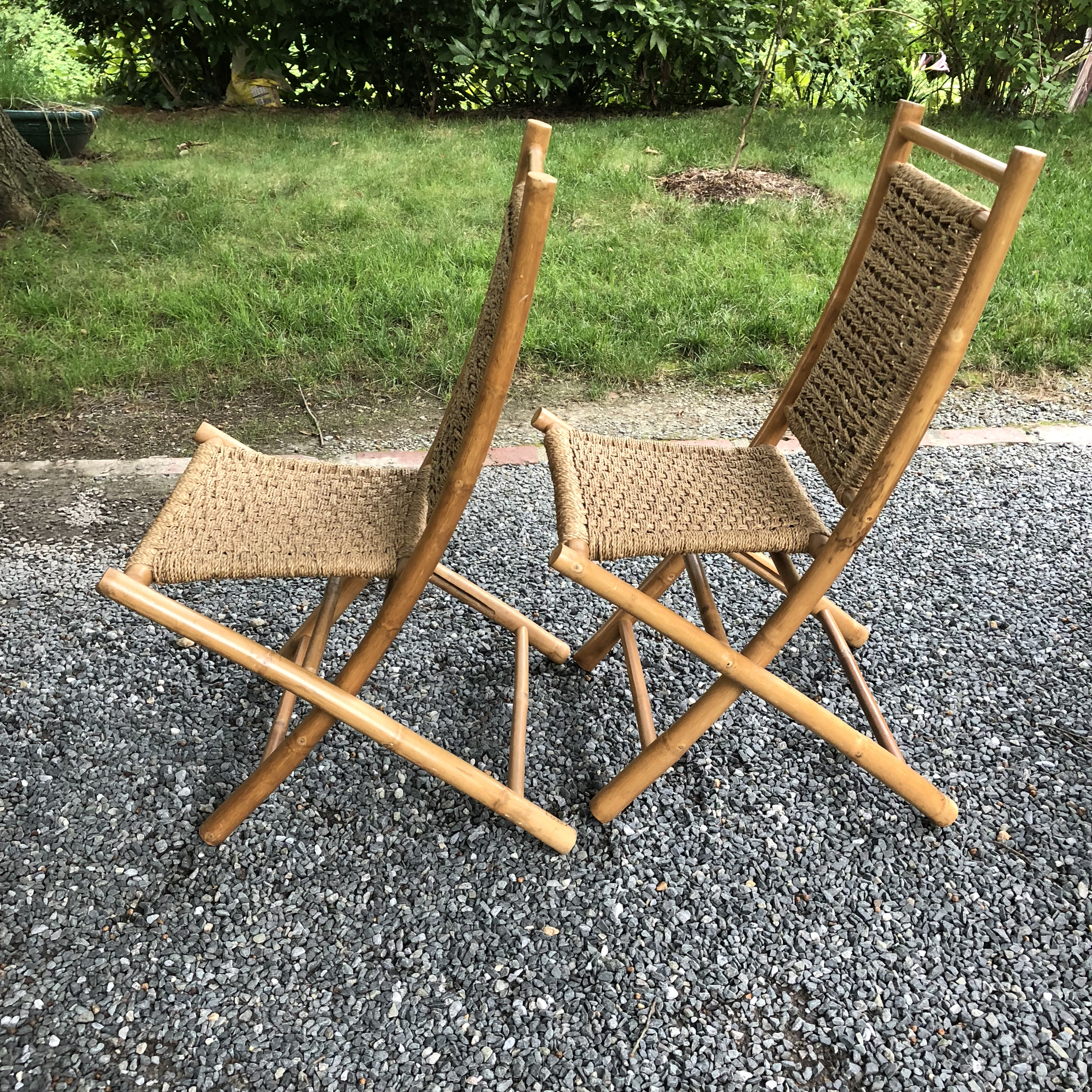 1960s Mid Century Modern Hans Wagner Style Bamboo Rope Folding Lounge Chairs    A Pair