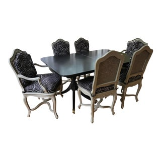 1990s French Cane Chairs and Ebonized Pedestal Table - 7 Pieces For Sale