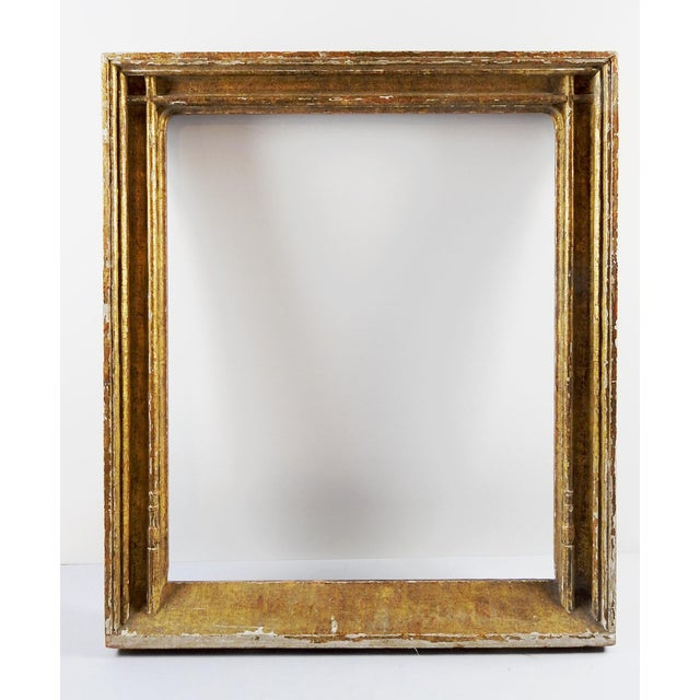 Flemish Gothic hand carved gilt picture frame by renowned frame maker M. Grieve Co., New York. Original tags, overall...