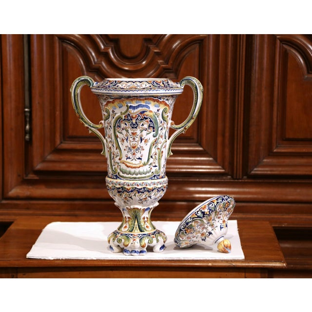 Blue 19th Century French Hand Painted Ceramic Vase With Lid From Normandy For Sale - Image 8 of 12