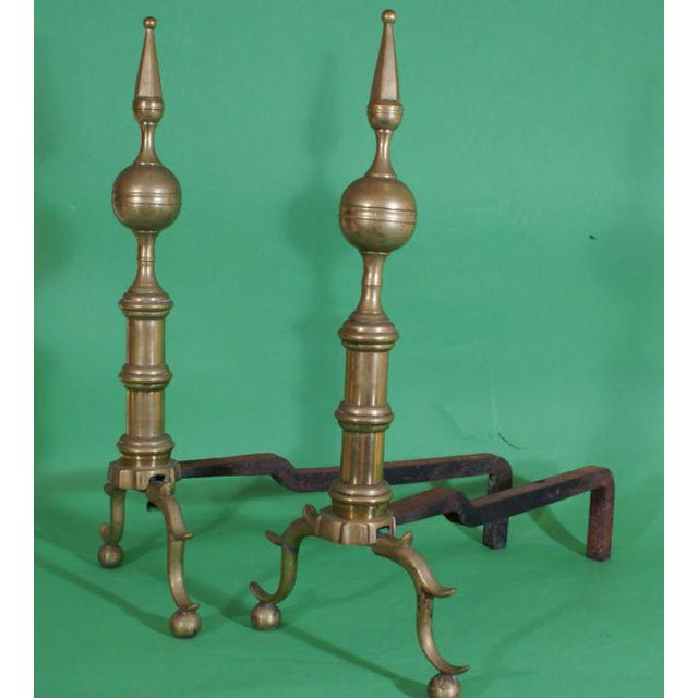 Traditional Early 19th Century Brass Andirons - a Pair For Sale - Image 3 of 4