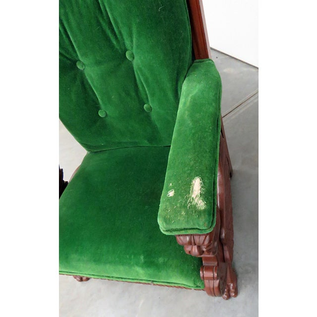 Renaissance Style Green Velvet Upholstered Winged Griffin Chair For Sale - Image 4 of 8