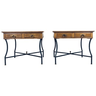 Stunning Pair of Inlaid Walnut Midcentury Tomlinson End Lamp Tables W Ring Pulls For Sale