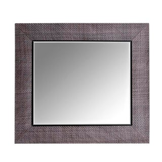Contemporary Grey Hand-Woven Leather Framed Mirror For Sale