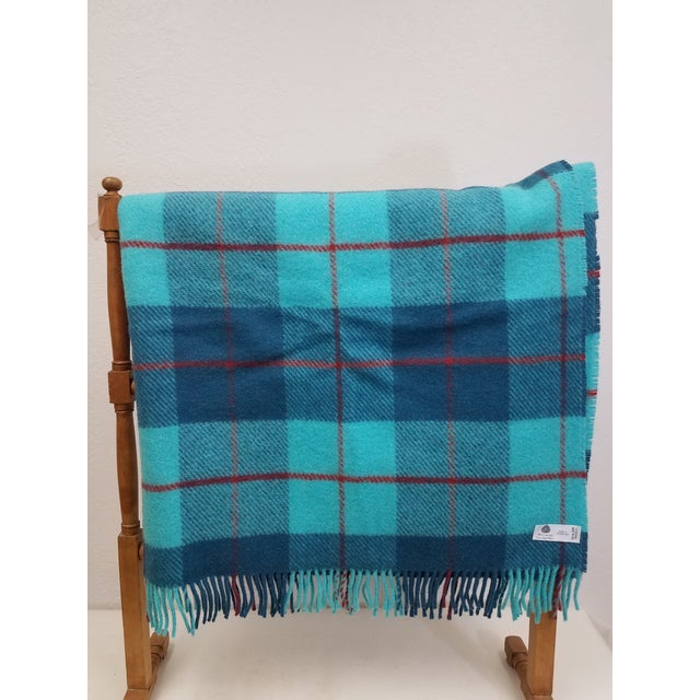 English Wool Throw Blue, Aqua and Red in Different Sized Stripes - Made in England For Sale - Image 3 of 11