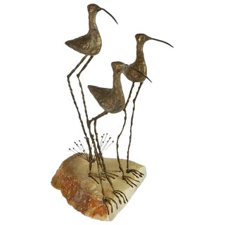 1968 Curtis Jere Sandpipers Brass Sculpture