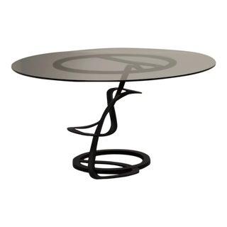 Black Steel Art & Glass Table