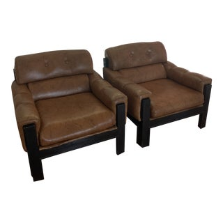 Brown Tufted Club Chairs - a Pair For Sale