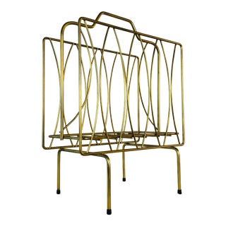 Vintage Gold Atomic Style Magazine Holder For Sale