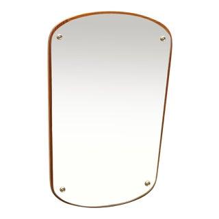 1960s Mid-Century Danish Teak Wall Overmantel Mirror For Sale