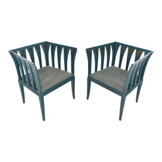 Eliel Saarinen Model 275 Blue Chairs - a Pair