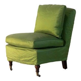 Green Slipcovered Slipper Chair For Sale