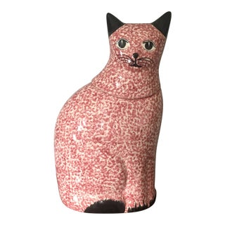 Pink Speckled Cat Cookie Jar For Sale