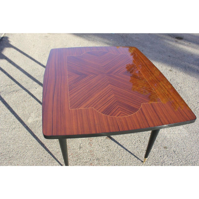 Gold 1940s Art Deco Exotic Macassar Ebony Game Table For Sale - Image 8 of 13