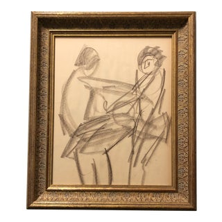 Vintage Original Nude 3Figure Action Study Charcoals Drawling For Sale