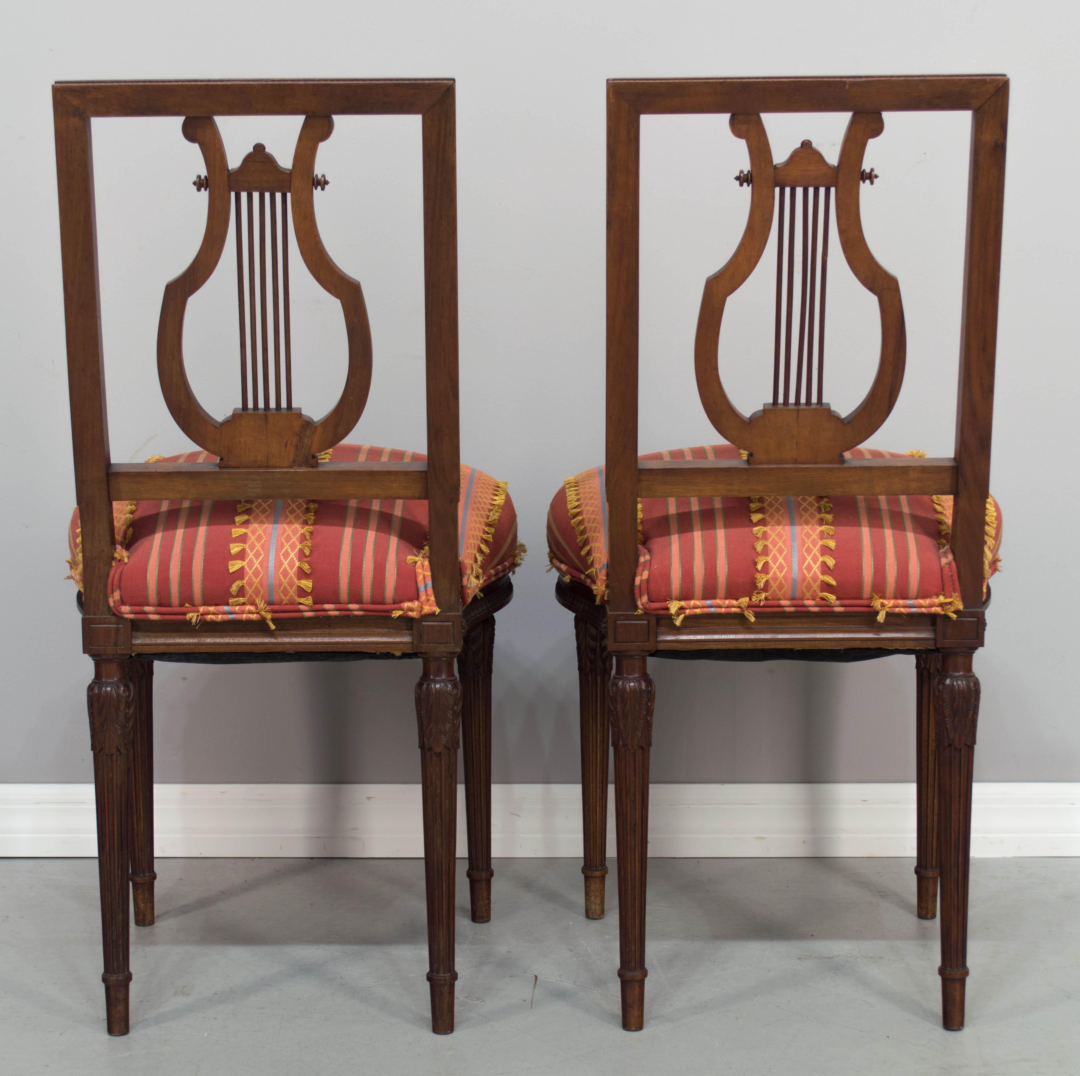 Late 19th Century Antique Louis XVI Style Parlor Chairs   A Pair For Sale    Image
