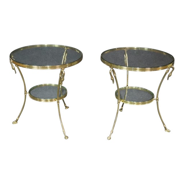 Regency Style Glass Top Brass Gueridons - a Pair For Sale