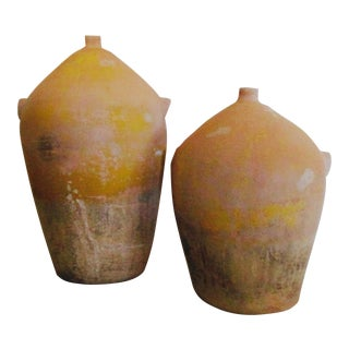 Terra Cotta Olive Jar Confit Pot Ceramic Urn Planter - Set 2