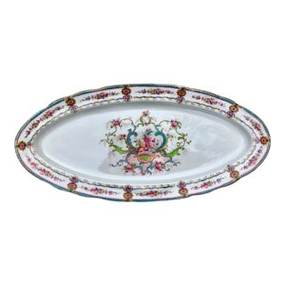 Early 20th C English Cauldon Floral Fish Serving Platter For Sale