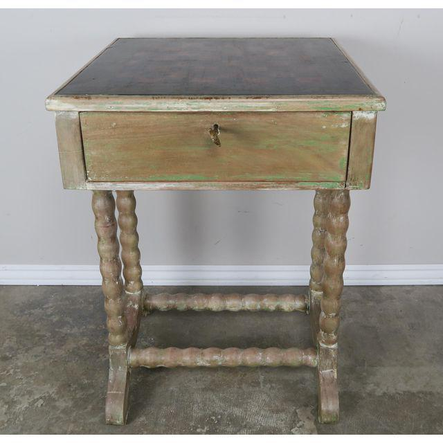 Vintage English Checkerboard Top Game Table For Sale In Los Angeles - Image 6 of 10