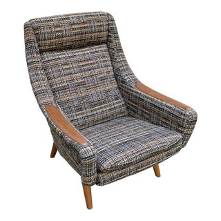Danish Modern Lounge Chair with Teak Armrests For Sale