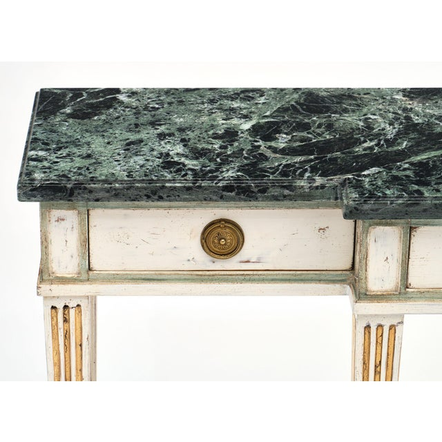 French Directoire Style Console Table With Pietra Verde Marble Top For Sale - Image 3 of 10